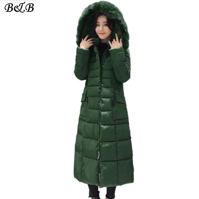 2016 Nuevo Invierno Para Mujer Parka Con Capucha Engrosamiento Cálido Abrigo de Pieles Collor Abajo Abrigos de Algodón Femme 4XL Más El tamaño de Alta Calidad Outwear