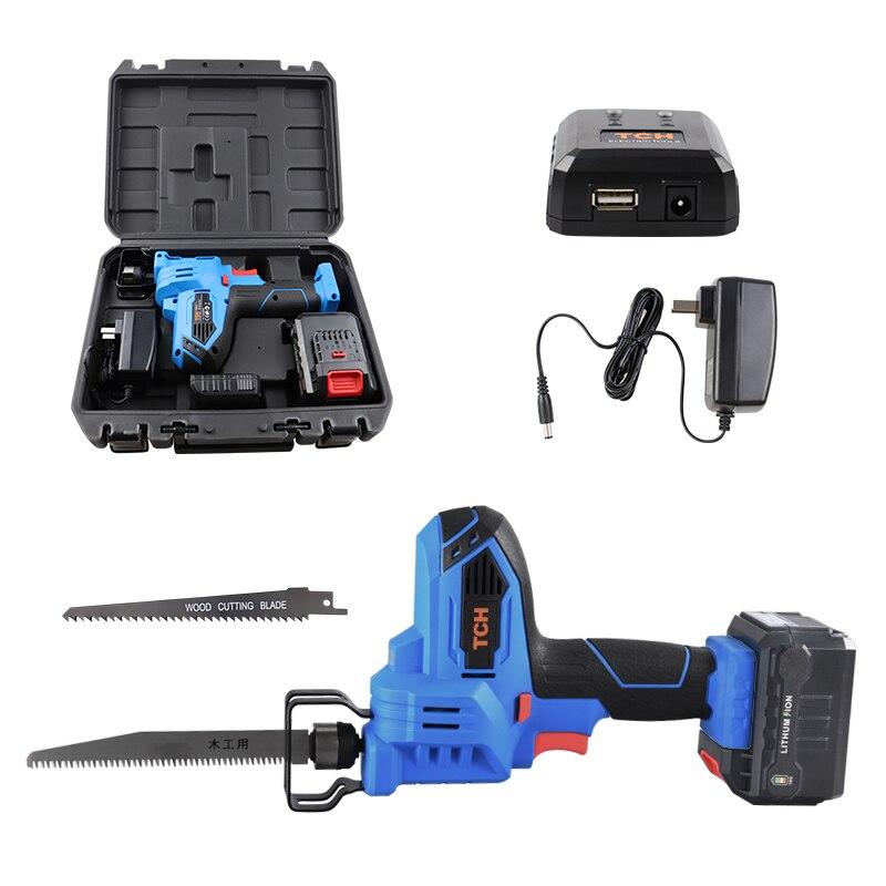 TCH 16 V Cordless Reciprocating Saw com bateria e 2 pcs blades fit metal & wood, alta-velocidade Serra Sabre Elétrico Recarregável Po
