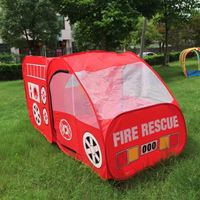 Hot Sale Portable Fire Truck Play Tent Kids Pop Up Indoor Outdoor Playhouse Toy Gift Playing