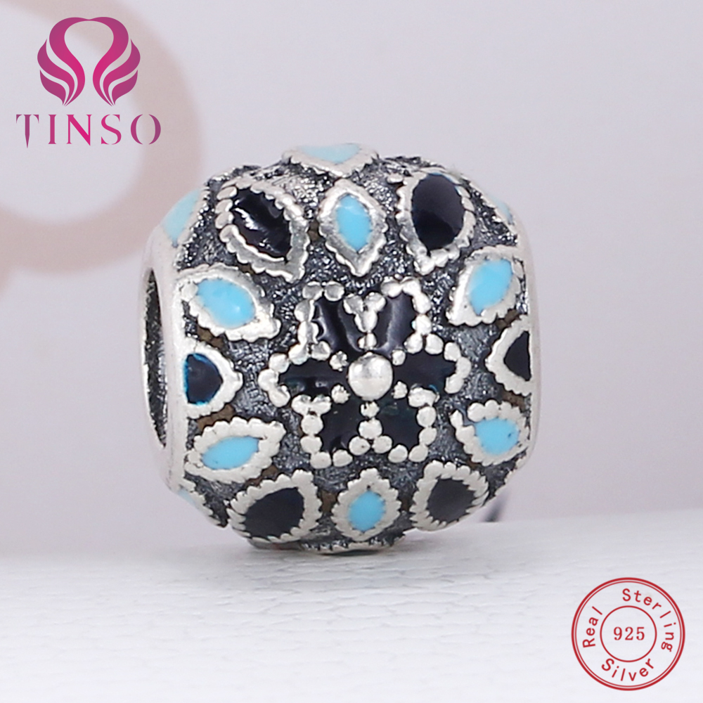100 authentic 925 sterling silver blue flower charm beads fit 100 authentic 925 sterling silver blue flower charm beads fit pandora charm bracelet diy original silver jewelry in beads from jewelry accessories on izmirmasajfo