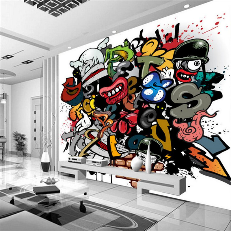 Beibehang Custom Wall Paper Living Room Background Graffiti Hip Hop