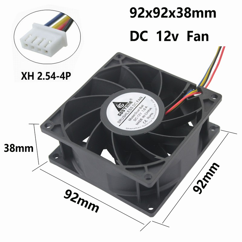 2 Pcs Gdstime Dual Ball DC 12V Brushless Cooling Fan 9cm 90x90x38mm 92mm x 38mm Large Cooler 90x90mm 4 Pin 12 Volt 5010s dc 12v 0 1a brushless cooling fan 4 2cm diameter page 4