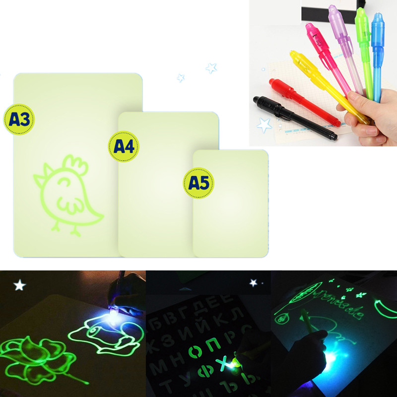A3/A4/A5 PVC Drawing Board Glow In Dark Sketchpad Set Draw With Light Writing Magic Drawing Board Set Kids Educational Toy Gift