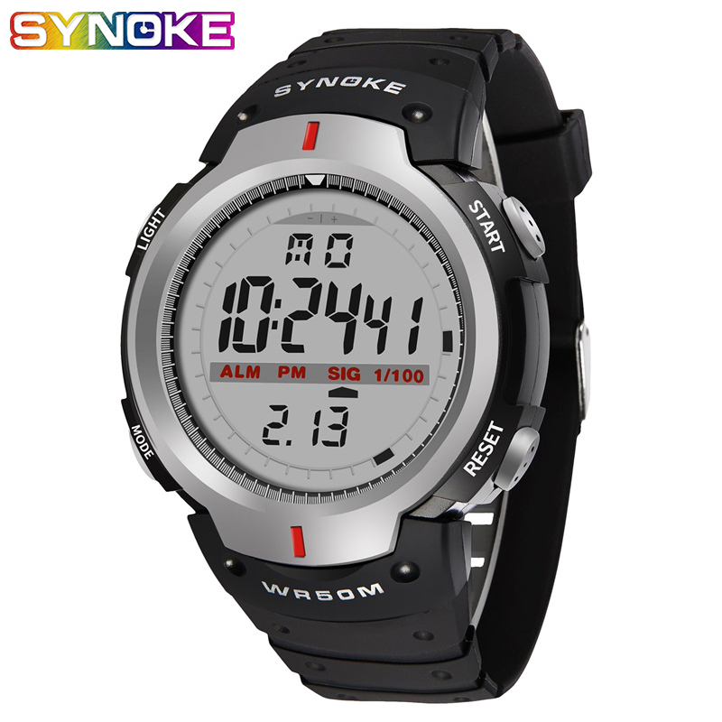 SYNOKE Kol Saati Watches Men 30M Waterproof Electronic LED Digital Outdoor Mens Sports Wrist Watches Stopwatch Relojes Hombre