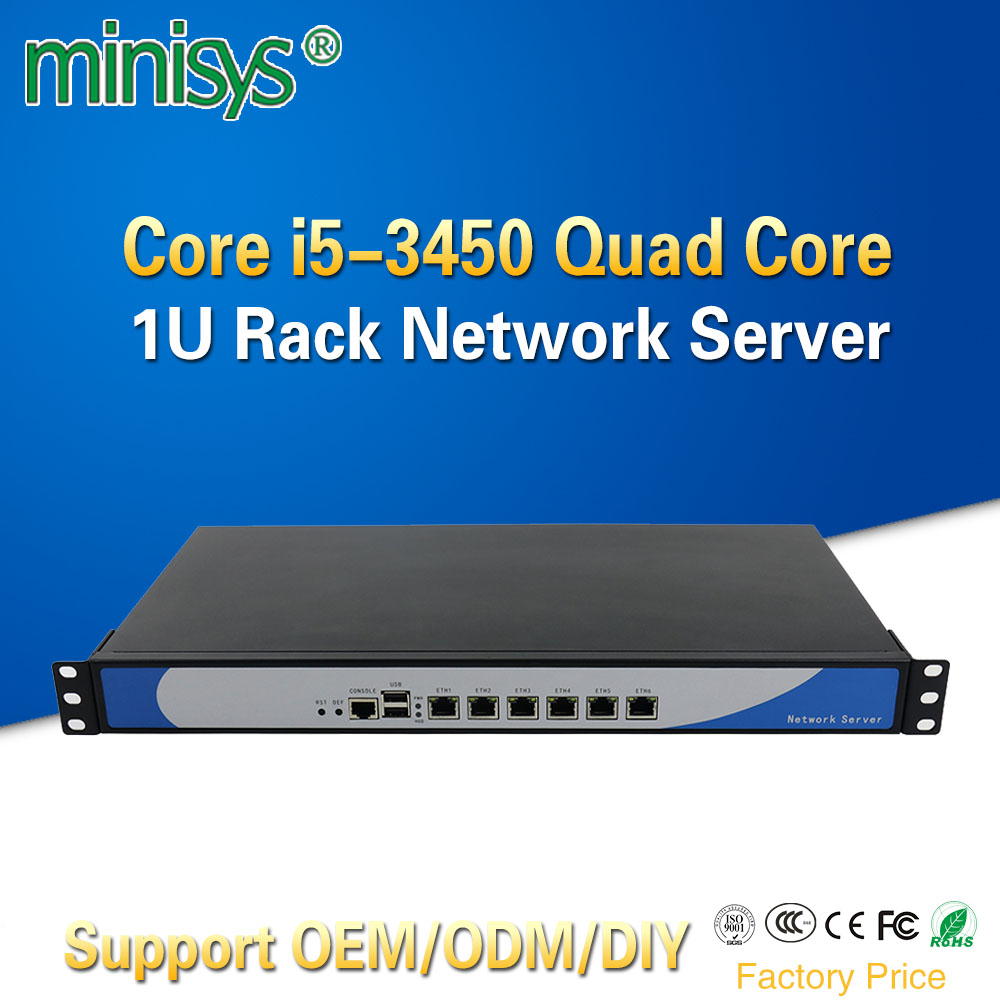 Minisys Ivy Bridge I5 3450 Quad Core 1U Rackmount Network Server With 6 Intel Lan Barebone PC Firewall Router PfSense AES-NI