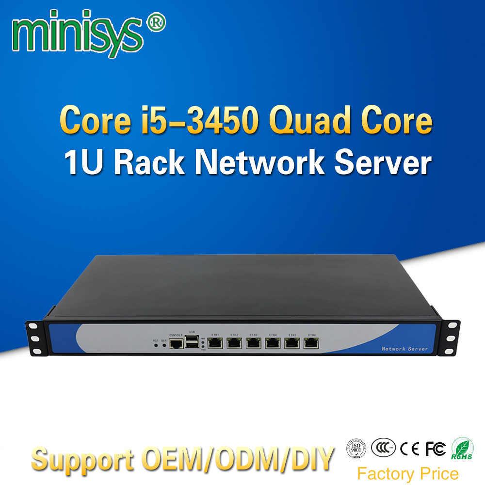 Minisys Ivy Bridge i5 3450 Quad Core 1U Rackmount Network Server with 6 Intel Lan Barebone PC Firewall Router PfSense AES-NI