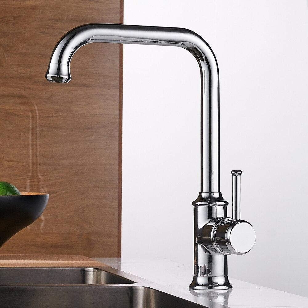 Robinets de cuisine couleur noire laiton grue robinets de cuisine eau chaude et froide mélangeur robinet mitigeur monotrou torneira WF-18059