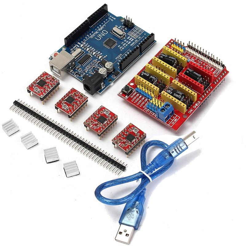 CNC Shield Board UNO R3 Board 4xA4988 Stepper Motor Driver Kit With Heat Sink For Arduino