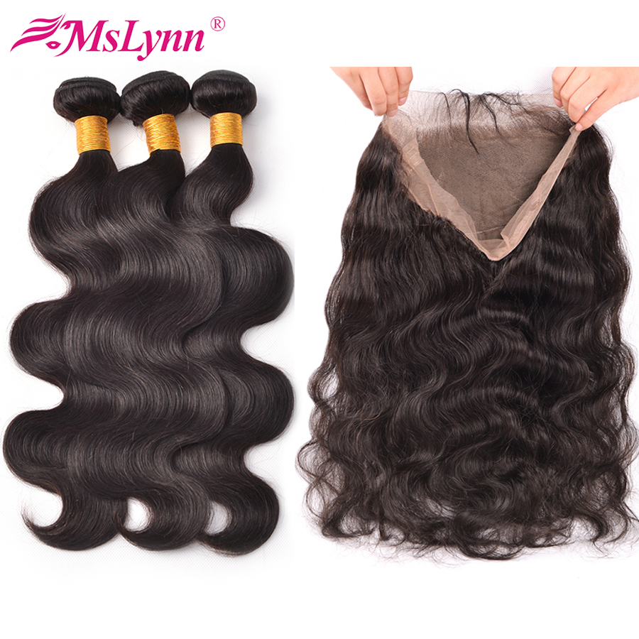 360 Lace Frontal With Bundle Body Wave Hair Bundles With Closure Peruvian Hair Bundles With Closure