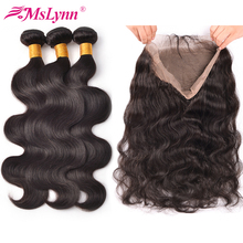 360 Lace Frontal With Bundle Body Wave Hair Bundles With Closure Peruvian Hair Bundles With Closure Non Remy Human Hair Bundles