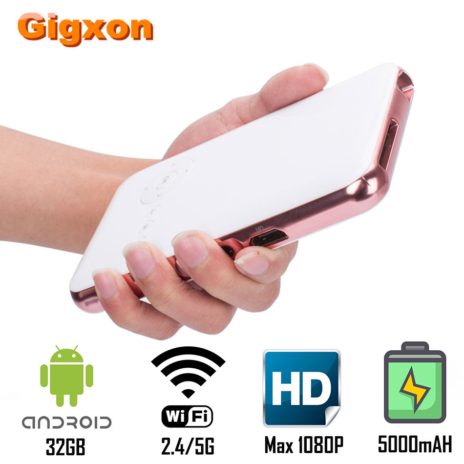 Gigxon G12 mini portable Projector Android 32GB 5000mAh Max 1080P HDMI USB AV Home Media Player Wifi Bluetooth Naive 480P(China)