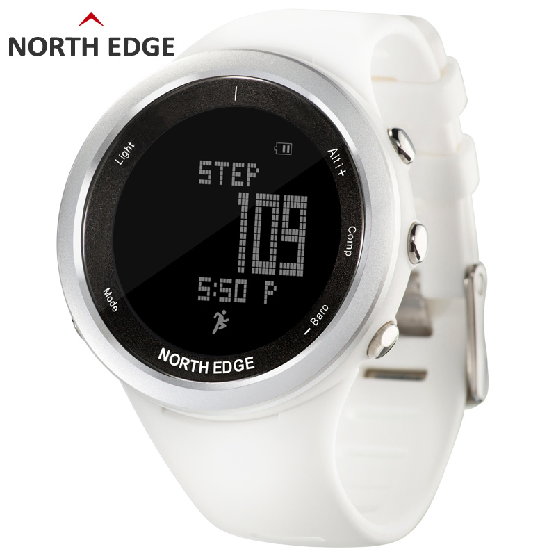Women sport watch white smart watches for woman outdoor running sports Altimeter Barometer Compass hiking hours NORTH EDGE ezon outdoor sports for smart gps watches running male multifunctional 5atm waterproof electronic watch g1 black