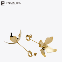 Enfashion Long Large Flower Dangle Earrings Rose Gold Color Earings Drop Earrings For Women Long Earring