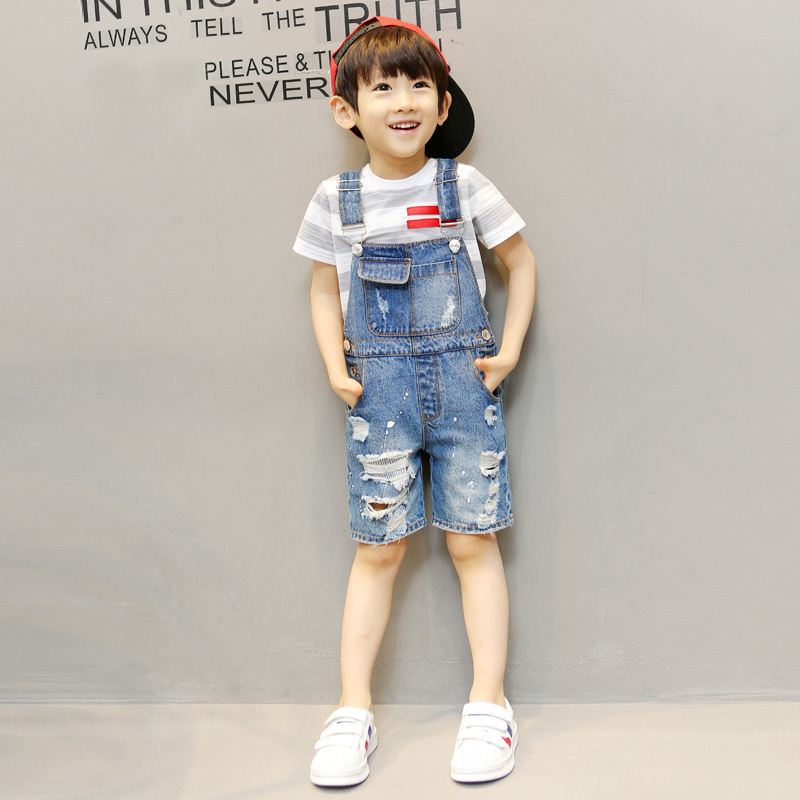 2020 summer children pants Overalls Korean Distrressed Worn Holes Straps Jeans Girl boy baby shorts pants kids clothes clothing 6