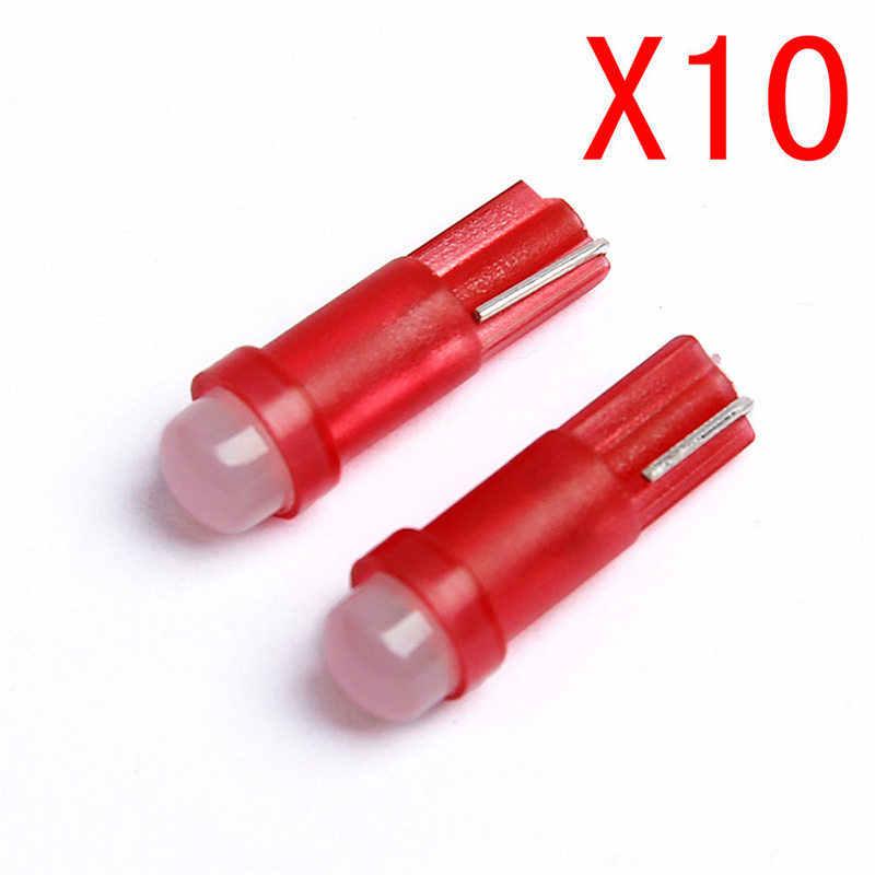 10 PC T5 LED Mobil Dashboard Lampu Instrumen Mobil Door Baji Gauge Membaca Lampu Bohlam 12V Tongkol SMD Mobil styling Putih Merah 1.22