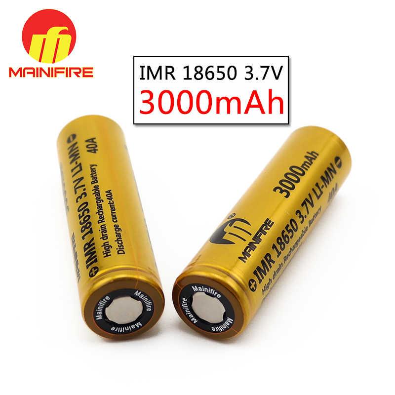 2018 nóng bán Mainifire18650 pin 3000 mah 40A 3.7 V li-ion mod pin 3.7 v 3000 mah pin lâu dài với đỉnh bằng phẳng (2 cái)