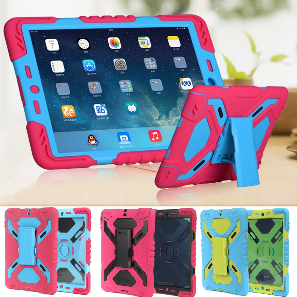 Tablets Case New Defender Stand Waterproof dirt shock Proof Case Cover For apple ipad 6 Air 2 Silicone protective shell