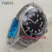 New 40mm Parnis Black Dial Ceramic Bezel Date Adjust Sapphire Glass Automatic Movement Men S Watch