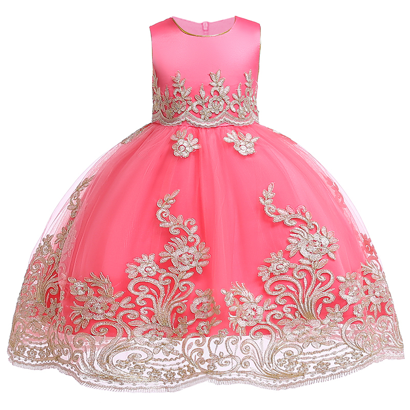 Kids   Girls   Embroidered   Flower     Girl     Dresses   Formal Princess Party Gown for Children Prom Gown Wedding 3 4 5 6 7 8 9 10 Years