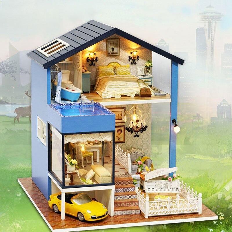 Новое поступление миниатюрный деревянный кукольный домик с DIY Игрушечная мебель для детей подарок на день рождения Сиэтл