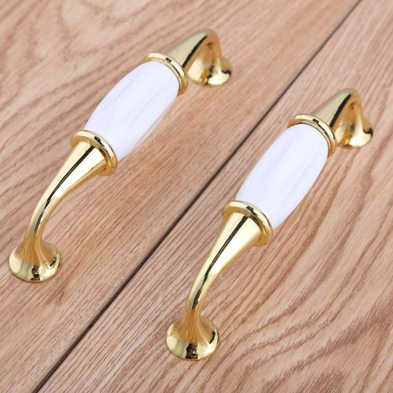 128mm modern fashion gold white furniture handles 5 white ceramic wardrobe bookcase door handles 96mm gold drawer cupboard knob