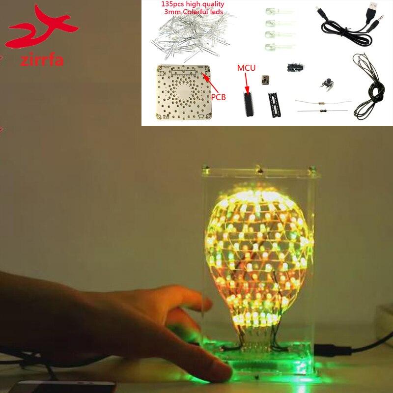 zirrfa Colarful LED Cubic Ball 3D LED DIY Kit Electronic Suite Smart Electronics Led Cubeeds Kit DIY Electronic