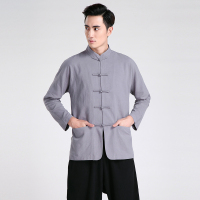 Vintage Gray Chinese Male Long Sleeve Casual Shirt Men S Cotton Linen Kung Fu Martial Arts
