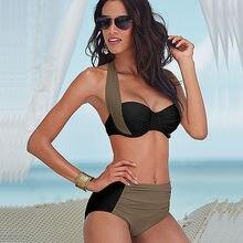 2016 New Sexy Bikinis Women Swimsuit High Waisted Bathing Suits font b Swim b font Halter