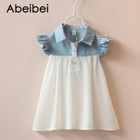 Hot Sale 2016 Summer Girls Cotton Denim Joint Chiffon One Piece Dress With Children Colthes Kids