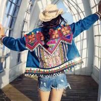 Мода куртка женщин, удивительные вышивки бисером джинсовые куртки случайные куртки mujer женщины основные пальто, осень casaco feminino