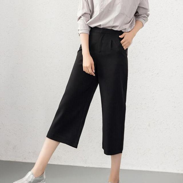 2016 novo verão temperamento fino Coreano Calças Cortadas casual calças perna larga