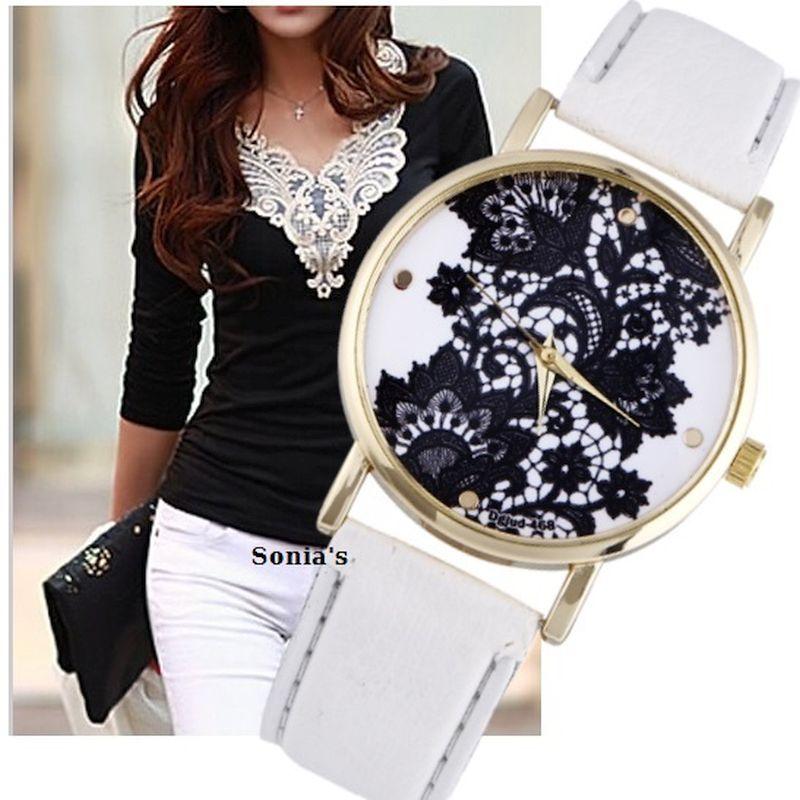 Gnova New Brand Black Lacework Minimalist Woman Geneva Style Horloge - Dameshorloges