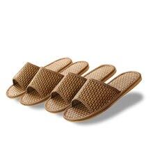 8c5d1beb94de Bamboo Weaving Straw Slippers Summer Couple Anti-slip Sandals And Slippers  Men s Home Indoor Wooden