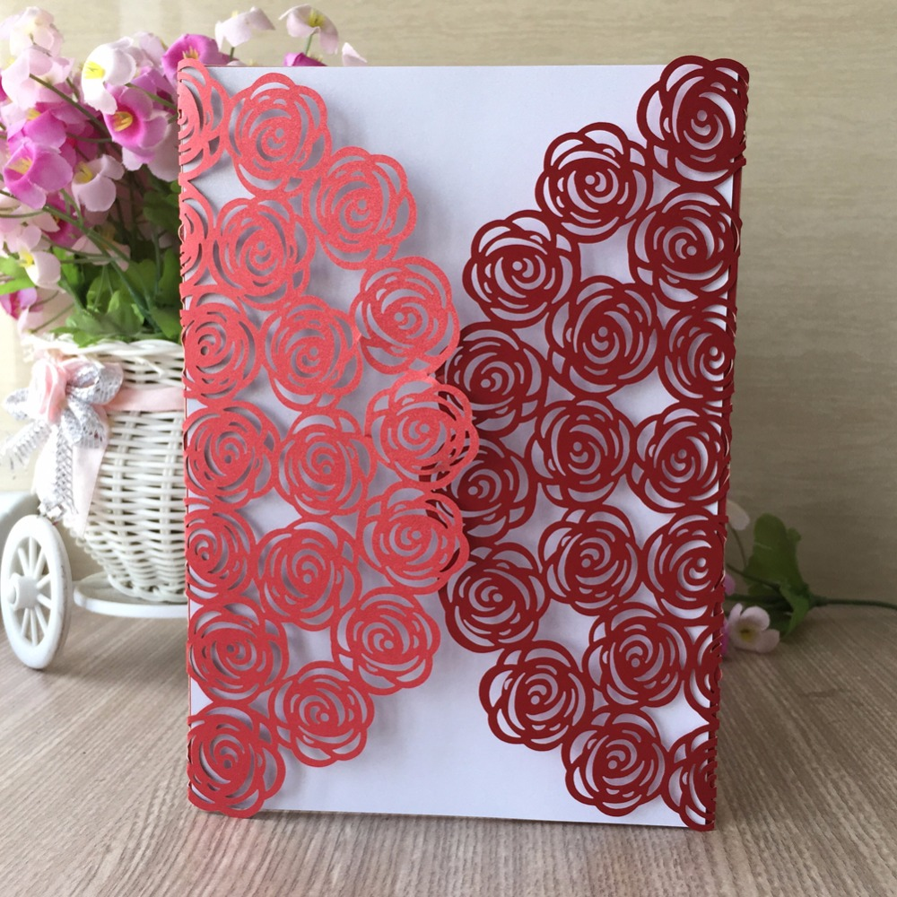 25Pcs Hollow Chinese Red &Pink Rose Flower Invitation Card Elegant ...