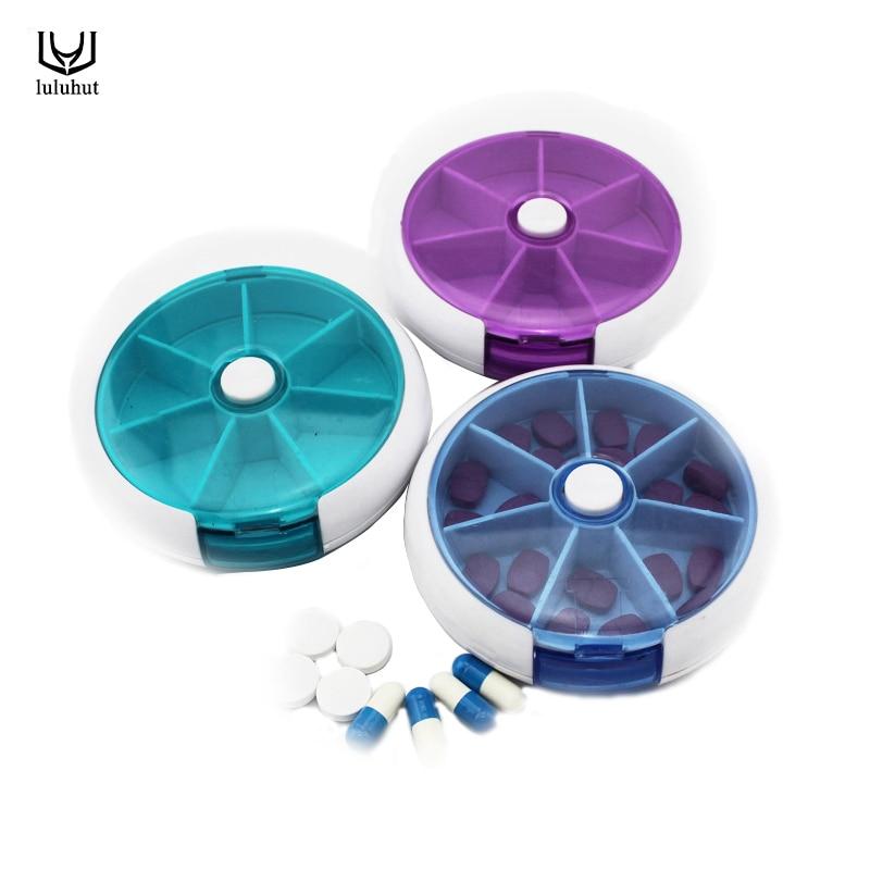 luluhut 7 slot pil medicijn vitamine 7 dagen opbergdoos organizer hoes draagbare pillendoos wekelijks roterende medicijnhouder