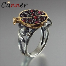 CANNER Vintage Jewelry Pomegranate Rings for Women/Men Gold/Silver/Rose Gold Garnet Natural Stone anillos mujer FI
