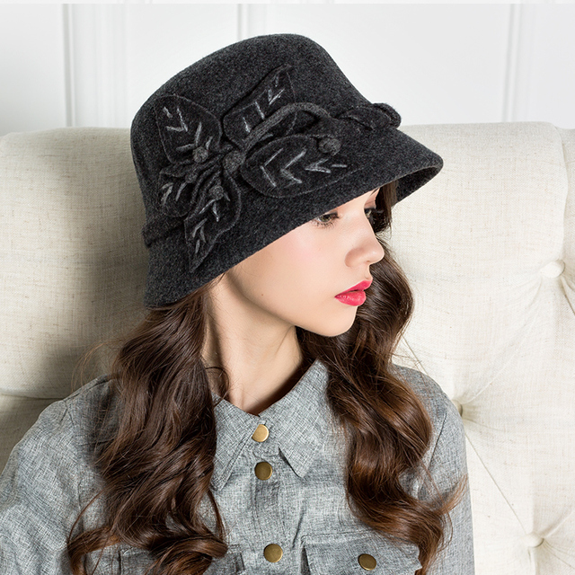 4c142fba998 Lady Autumn Winter Warm Hat Women Fashion Wool Cap Based Handmade Flowers  Decoration Woolen Cap Wearing