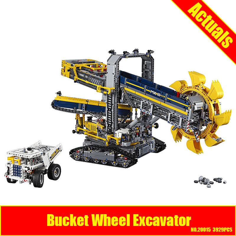 LEPIN 20015 3929Pcs Technic Bucket Wheel Excavator Model Building assemble Kit Blocks Brick Compatible Toy Gift 42055 high quality excavator seal kit for komatsu pc200 5 bucket cylinder repair seal kit 707 99 45220