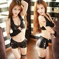 Women Sexy Faux Leather Lingerie Sets Lady Policemen Uniform Bra Gloves and Panties Shorts Female Exotic Costume Play Clothing