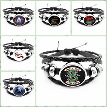 2019HOT! Arrival At The Riverdale Leather Bracelet Riverdale Jewelry Glass Dome Rotating Black Men's Bracelet(China)