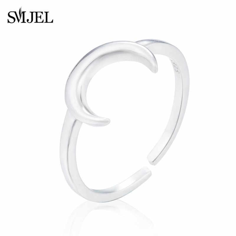 SMJEL 100% 925 Sterling Silver Moon แหวน Minimalist U รูปร่าง Horseshoe แหวน Anel ของขวัญ 2019 anillos