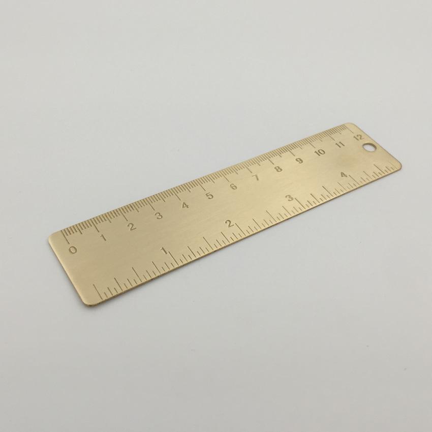 New Vintage Brass Handy Straight Ruler School Copper Metal Bookmark CM Inch Dual Scales