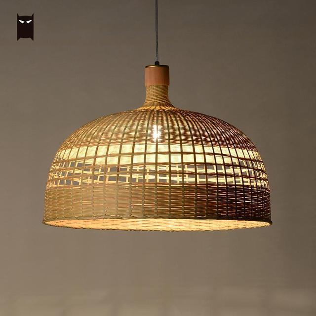 57cm Rattan Chandelier Light Fixture Chinese Handmade Bamboo Wicker Shade Hanging Ceiling Pendant Lamp Avize Re