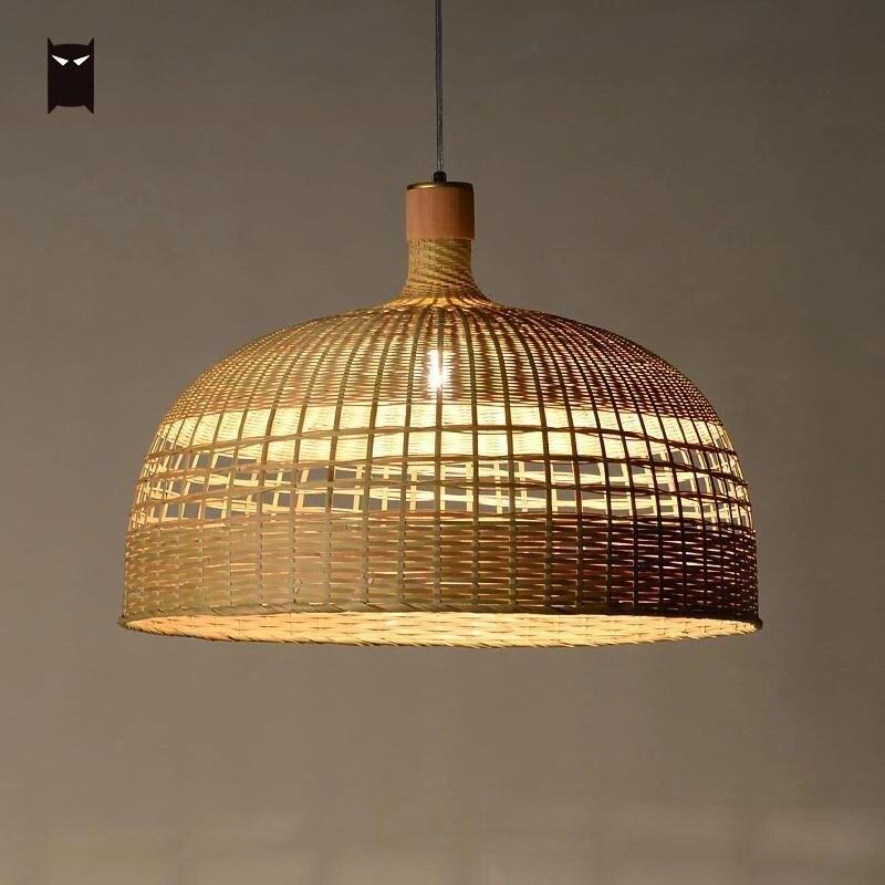 delicate rattan chandelier light fixture chinese handmade bamboo wicker shade hanging ceiling pendant lamp lustre design foyer