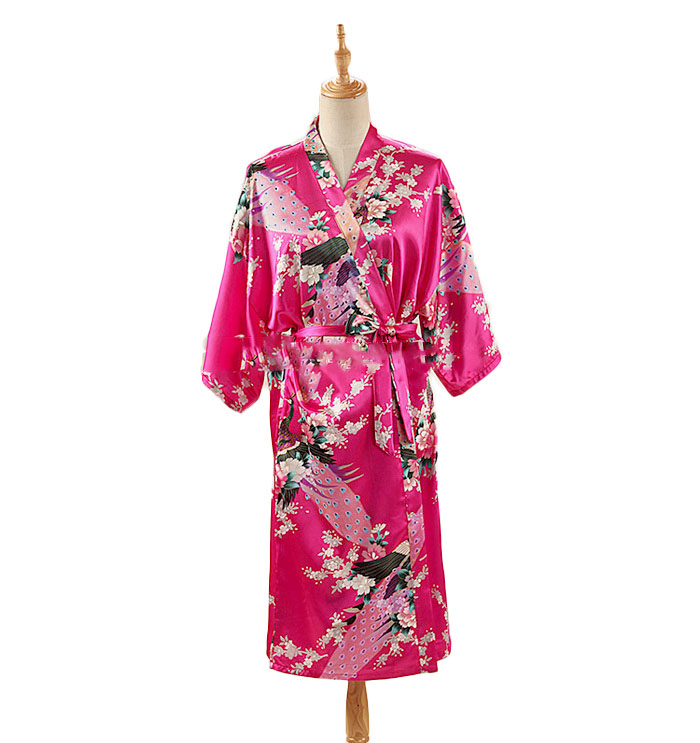 HTB1QMciXtfvK1RjSszhq6AcGFXa9 Woman Loose Style Pajamas Home Sleep Wear Lace Up Peacock Print V-neck Night Gown Japanese Kimono Yukata Bathing Robe
