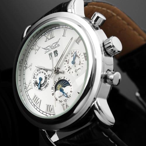 Male Watches JARAGAR Leather Belt Auto Mechanical Wristwatch Multifunction Vintage Moonphase Luminous Hands Men s Retro