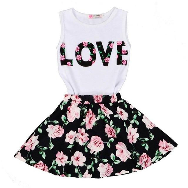 b550416b8 Children s Clothing Set Little Girls Shirts Top+Skirt 2pcs Set Girls ...