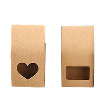 50Pcs Kraft Paper Bags Stand-up Reusable Sealing Food Pouches with Transparent Window For Storing ,Cookie,Dried Foods,Snack
