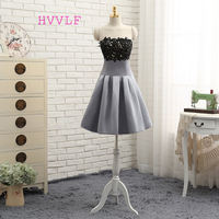 Dressgirl Gray 2016 Homecoming Dresses A Line Strapless Knee Length Appliques Lace Black Cocktail Dresses