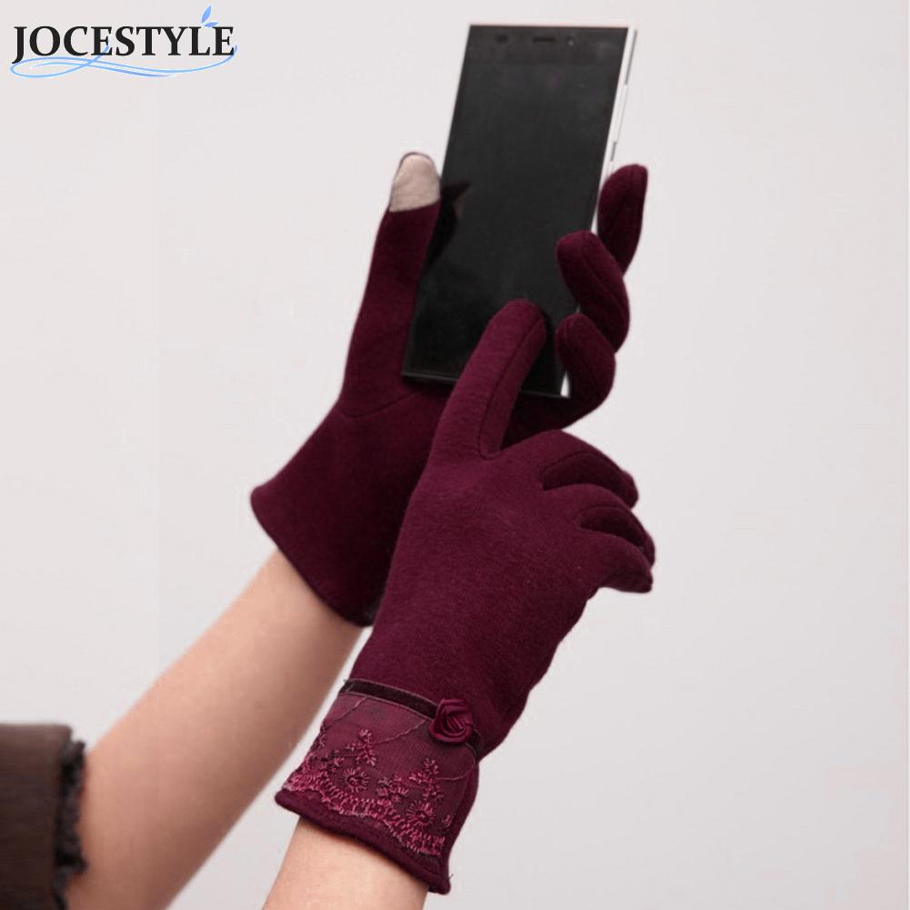 Mens novelty gloves - Touch Screen Mittens Women Female Ladies Girls Sheep Wool Winter Lace Gloves Winter Warm Outdoor Gloves